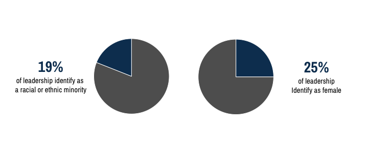 Two pie charts. One showing that 19% of leadership identify as racial or ethnic minorities and the second showing that 25% of leadership identify as female.
