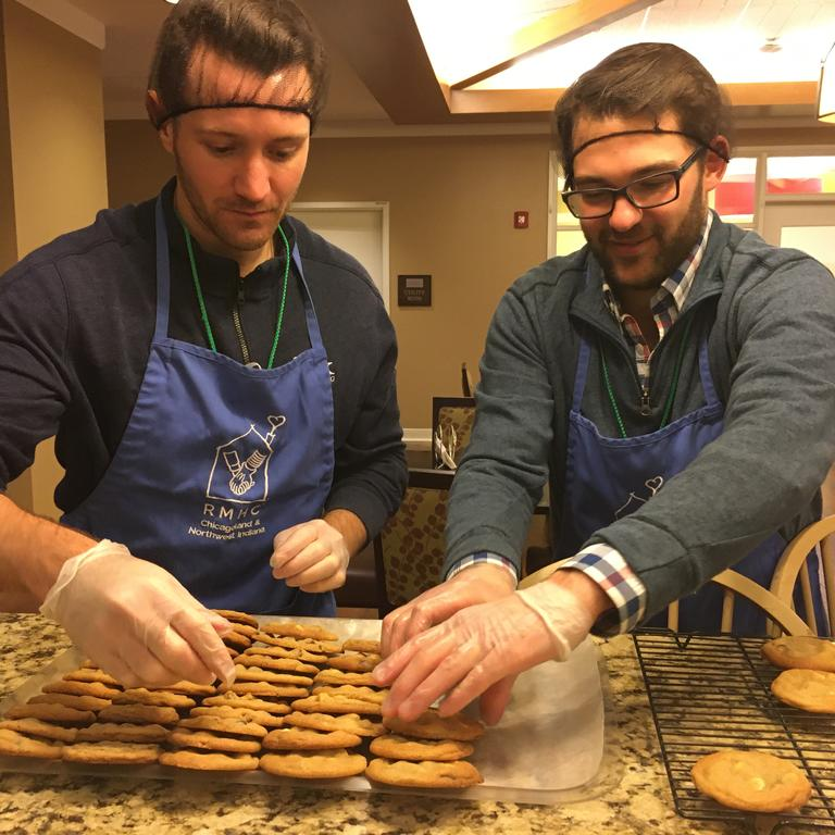 HBK volunteers organize some of the dozens of chocolate chip cookies